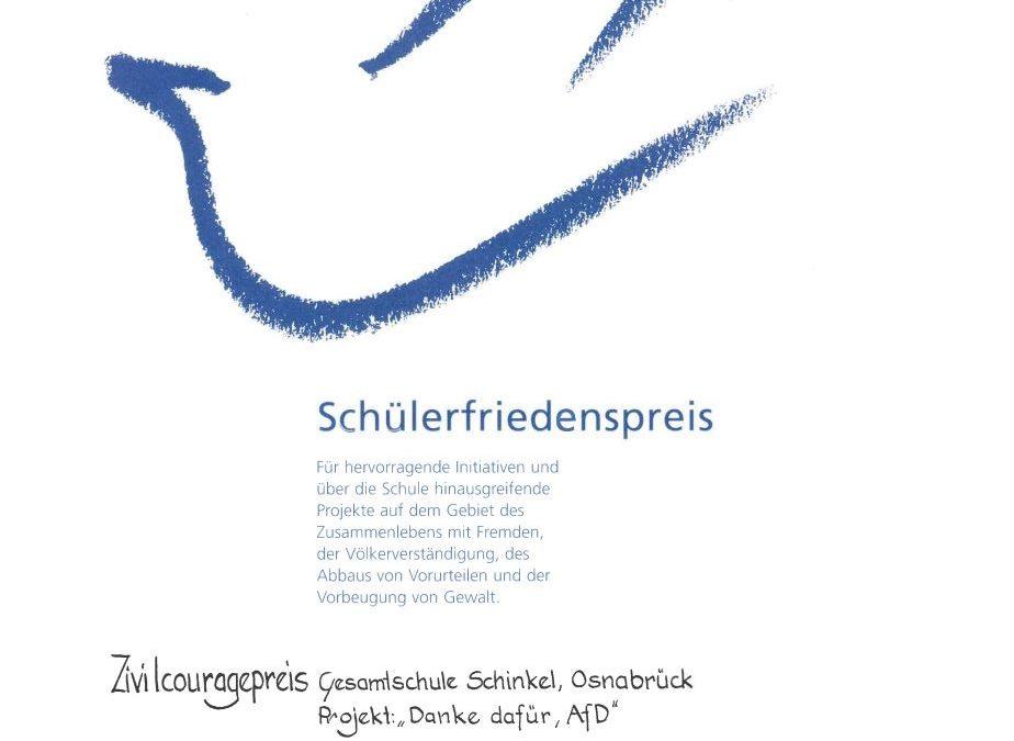 Niedersächsischer Zivilcouragepreis für die Gesamtschule Schinkel